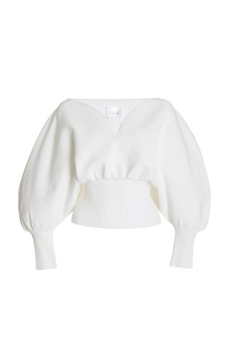 Luna Puff-Sleeve Compact-Knit Top
