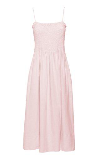 Lena Shirred Linen Maxi Dress