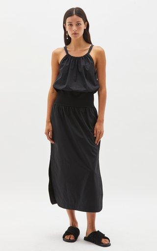 Waist Accent Cotton Midi Dress