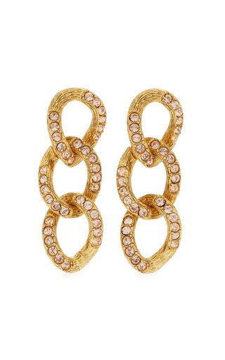 Crystal-Embellished 18K Gold-Plated Chain-Link Earrings