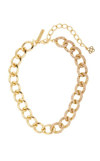 Gold-Tone Crystal Embellished Chain Necklace