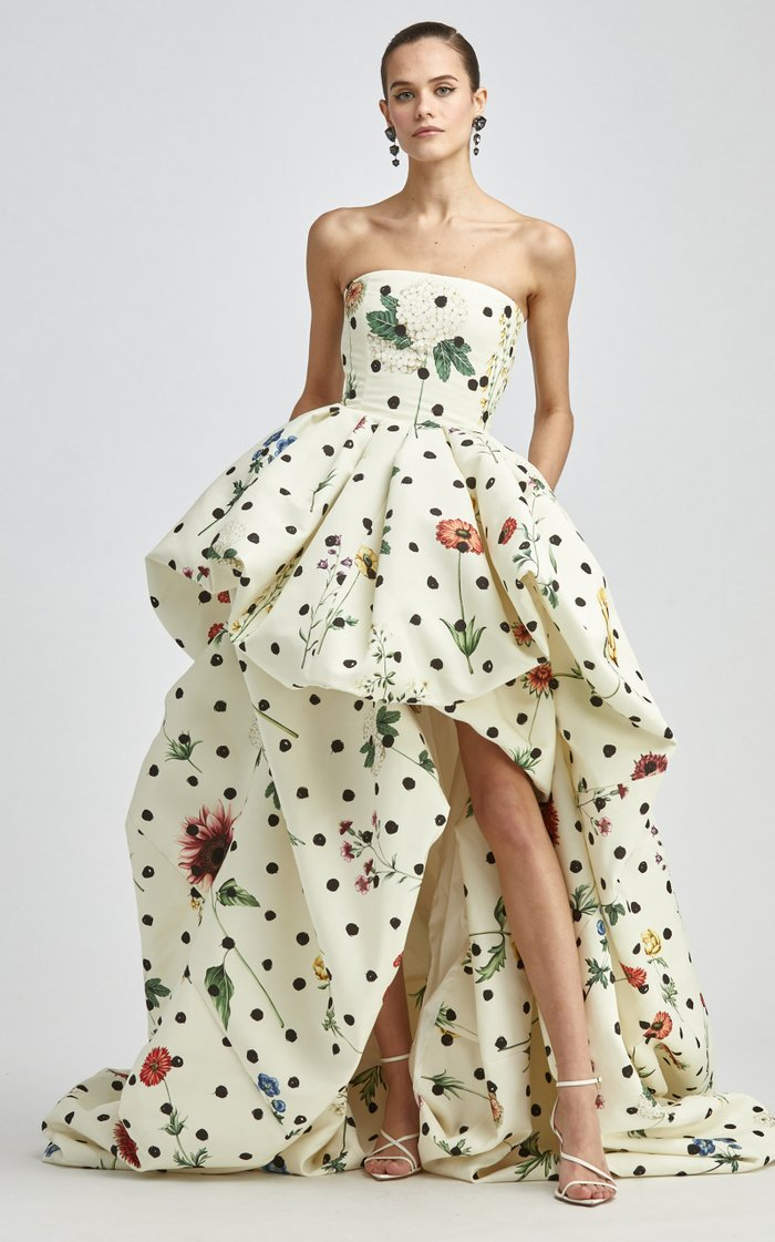 Polka Dot Printed Faille Gown
