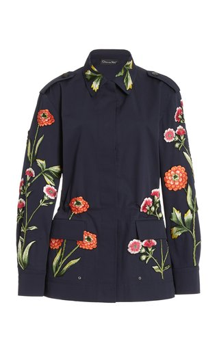 Floral Embroidered Cotton-Blend Blazer