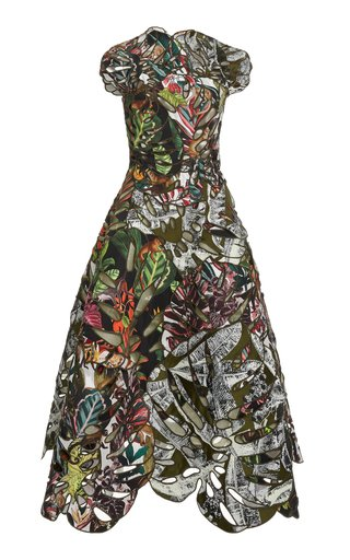 Printed Jacquard Cocktail Dress