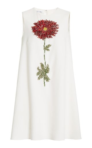 Flower-Embellished Wool-Blend Mini Dress