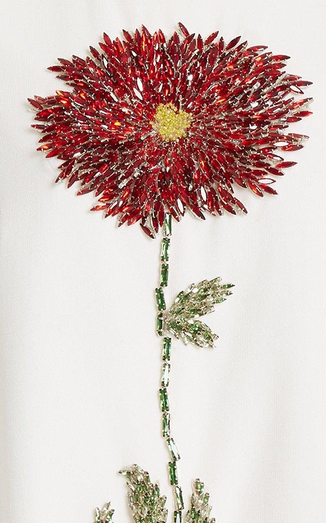 Flower-Embellished Wool-Blend Mini Dress