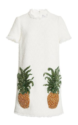 Pineapple Embroidered Cady Mini Dress