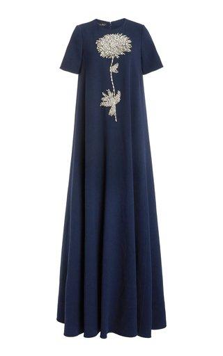 Floral Embellished Wool-Blend Gown