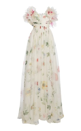 Floral Printed Silk Gown