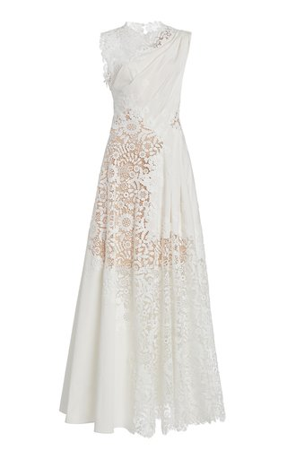 Lace-Detailed Cotton-Blend Dress