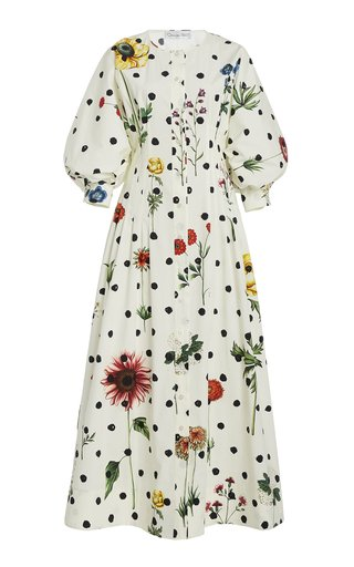 Printed Puff Sleeve Cotton-Blend Dress
