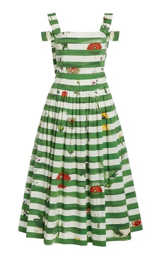 Painted Striped Cotton-Blend Dress