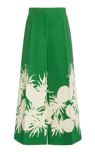 Printed Wool-Silk Culotte Pants
