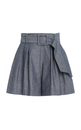 Pleated Belted Cotton Shorts
