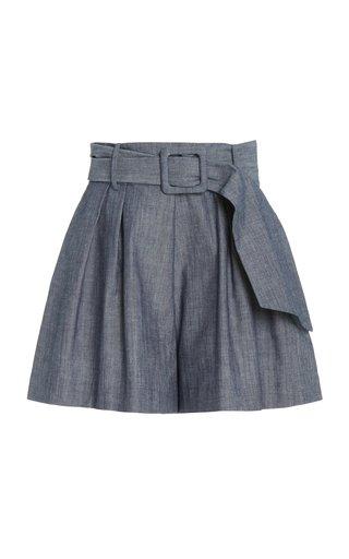 Pleated Cotton Chambray Shorts