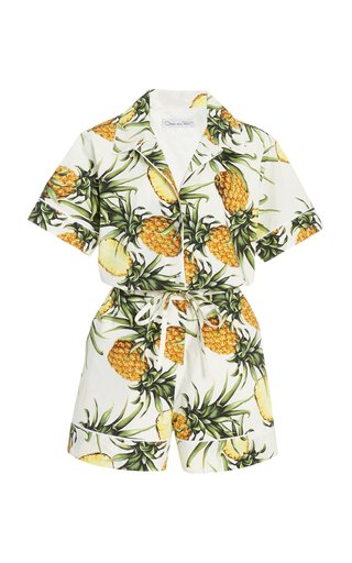 Printed Collared Cotton-Blend Jumpsuit