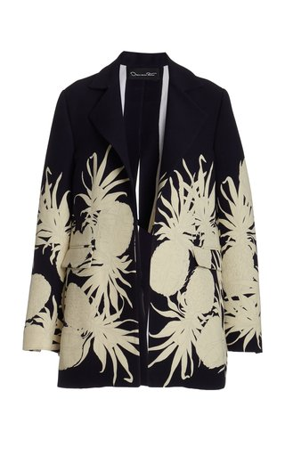 Printed Structured Wool-Silk Blazer