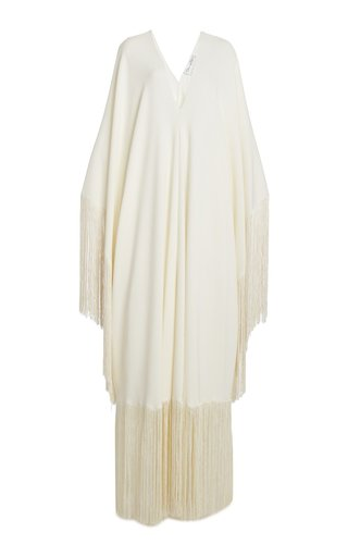Fringed Stretch-Silk Caftan
