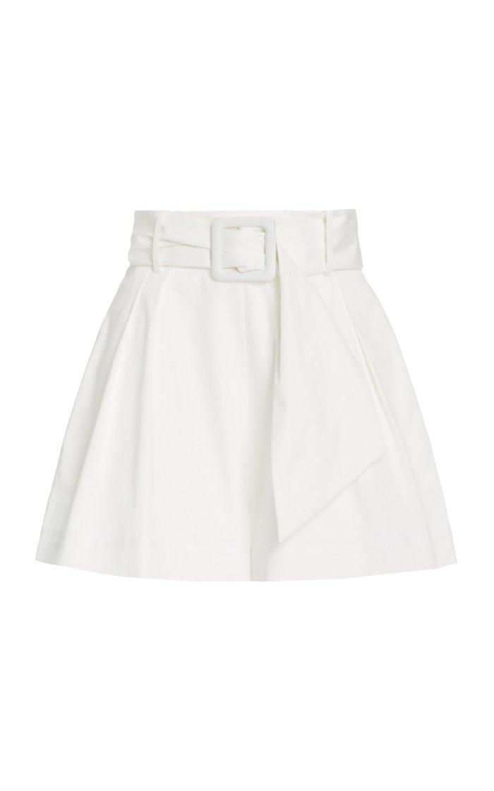 Belted Cotton-Blend Shorts