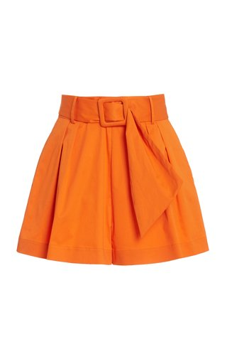 Belted Cotton-Blend Shorts