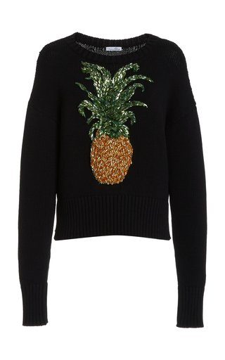 Embellished Knitted Cotton-Blend Pullover