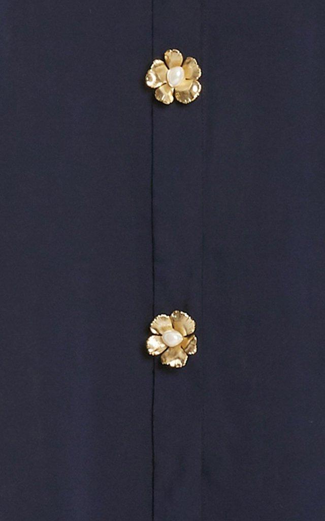 Balloon Sleeve Longline Cotton-Blend Shirt