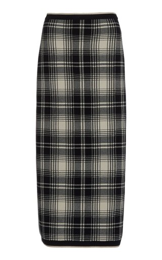 Plaid Knit Pencil Skirt