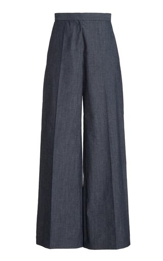 Wide Leg Cotton Chambray Pants