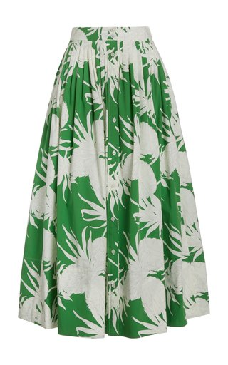 Cotton-Blend Printed Midi Skirt
