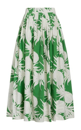 Pleated Pineapple-Print Cotton Midi Skirt