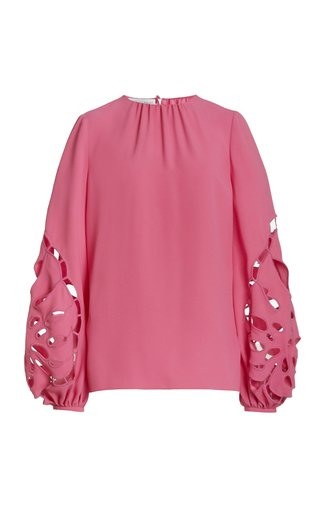 Embroidered Balloon Sleeve Cady Blouse