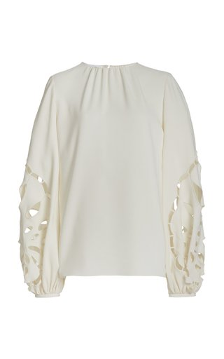 Embroidered Balloon Sleeve Silk-Blend Blouse