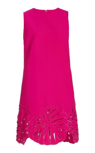 Palm-Embroidered Wool-Blend Shift Dress
