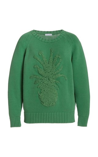 Knitted Embroidered Cotton-Blend Pullover