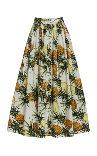 Printed Cotton-Blend Midi Skirt