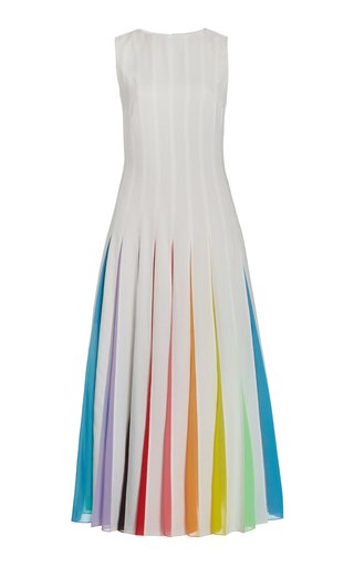 Rainbow Detail Crepe Midi Dress