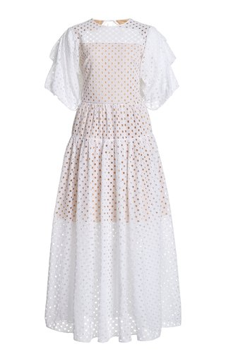 Puff Sleeve Eyelet Cotton Dress