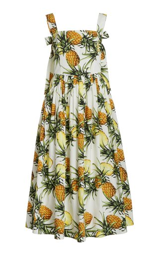 Printed Pleated Cotton-Blend Dress