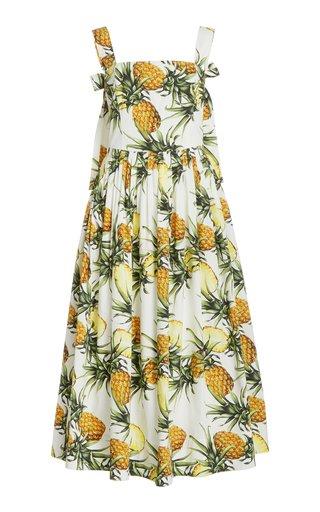 Pineapple-Print Cotton Midi Dress