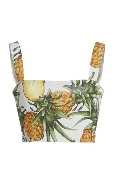 Pineapple-Print Poplin Cropped Top