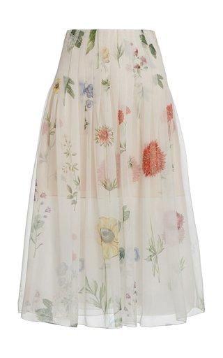 Pleated Floral Silk Chiffon Midi Skirt