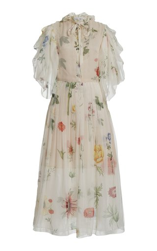 Printed Balloon Sleeve Silk Dress