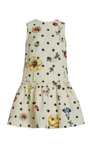 Flounce Hem Printed Faille Dress