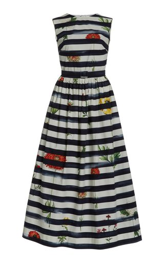 Printed Striped Cotton-Blend Dress