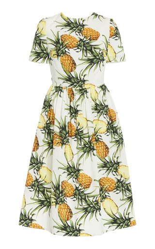Printed Tie-Back Cotton-Blend Dress