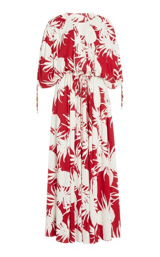 Printed Shirred Sleeve Maxi Dress