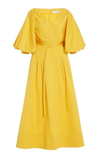 Balloon Sleeve Cotton-Blend Dress