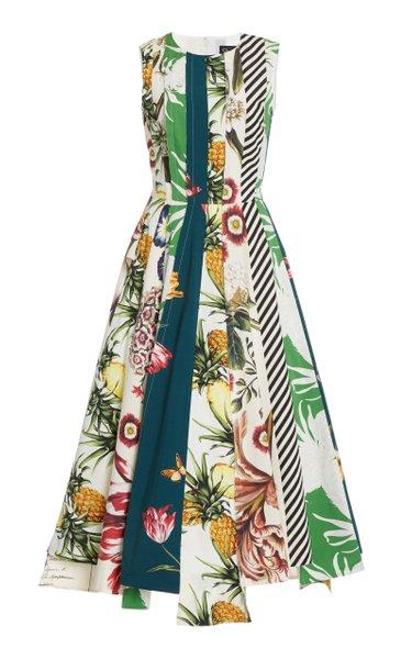 Patchwork Printed Cotton Midi Dress