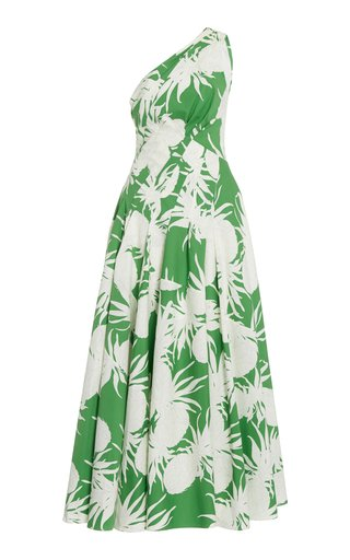 One-Shoulder Pineapple Print Cotton Dress