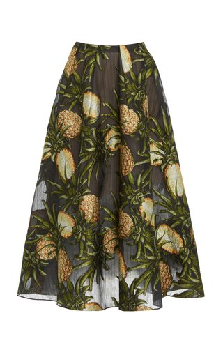 Fil Coupe Pleated Silk-Blend Skirt